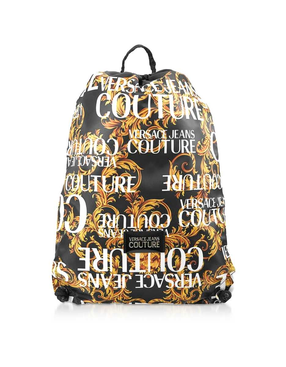 Versace Jeans Couture  Men's Bags Barocco Printed Nylon Drawstring Backpack Gold USA - GOOFASH - Mens BAGS