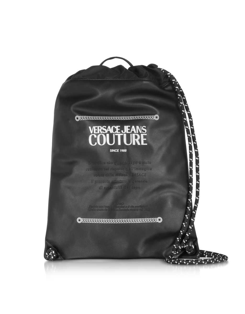 Versace Jeans Couture  Men's Bags Black and White Signature Backpack Black USA - GOOFASH - Mens BAGS