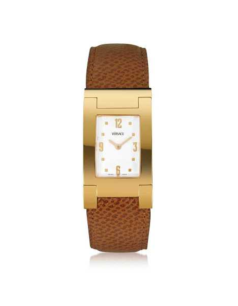 Versace Men's Watches On Fifth - Men's Gold Plated Brown Leather Watch USA - GOOFASH - Mens WATCHES