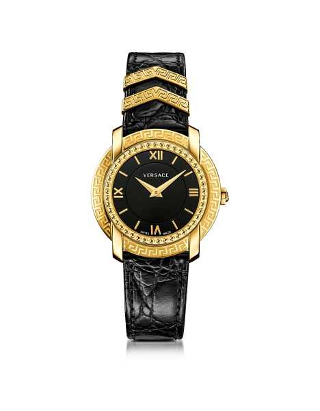 Versace Women's Watches DV25 Round Black and Gold Women's Watch w/Croco Embossed Band and Metal Inserts Gold USA - GOOFASH - Womens WATCHES