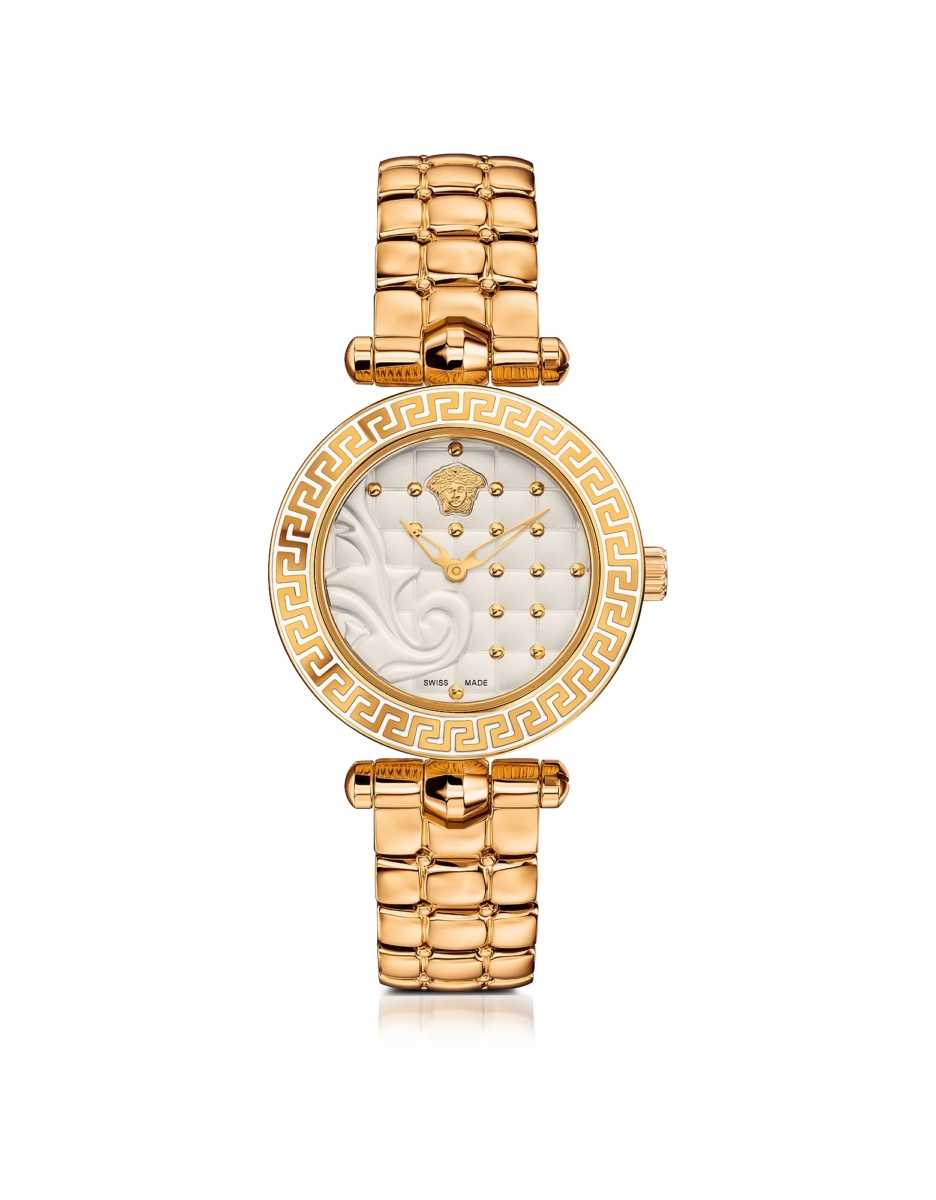 Versace  Women's Watches Micro Vanitas PVD Gold Plated Women's Watch w/Baroque White Dial Gold USA - GOOFASH - Womens WATCHES