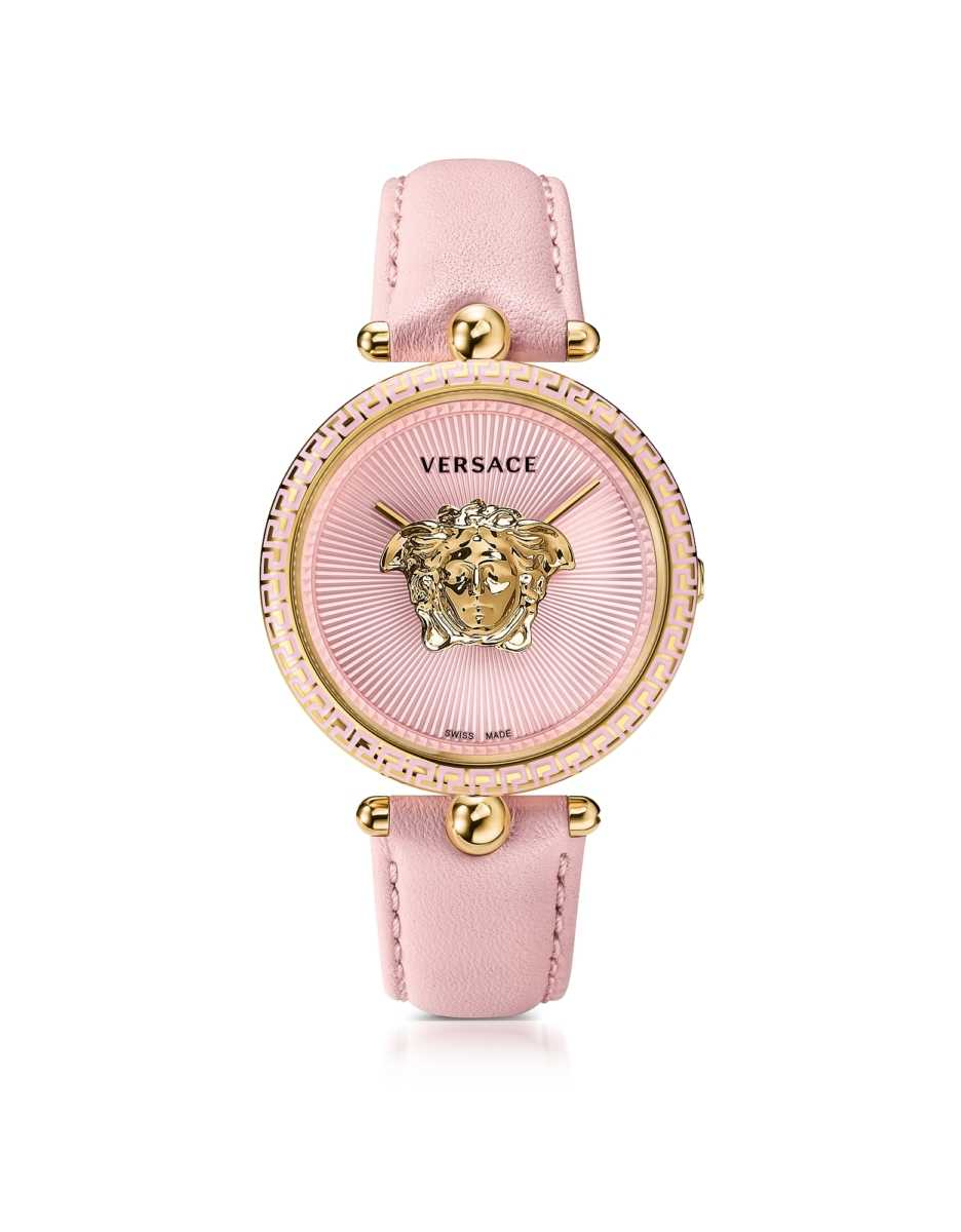 Versace  Women's Watches Palazzo Empire Pink and PVD Plated Gold Women's Watch w/3D Medusa Gold USA - GOOFASH - Womens WATCHES