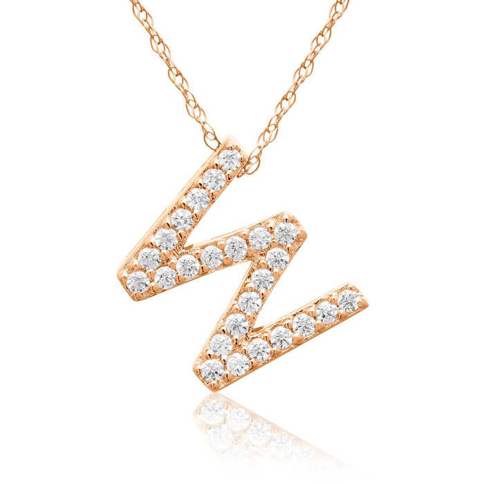 W Initial Necklace in 18K Rose Gold (2.6 g) w/ 25 Diamonds
