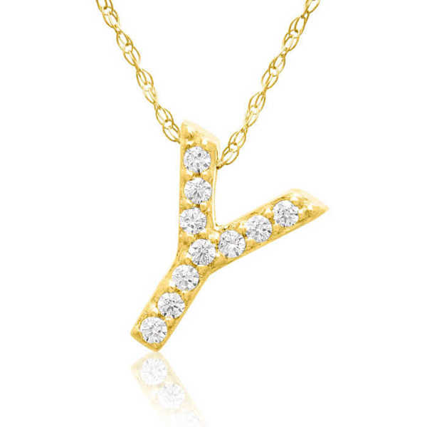 Y Initial Necklace in 18K Yellow Gold (2.6 g) w/ 10 Diamonds