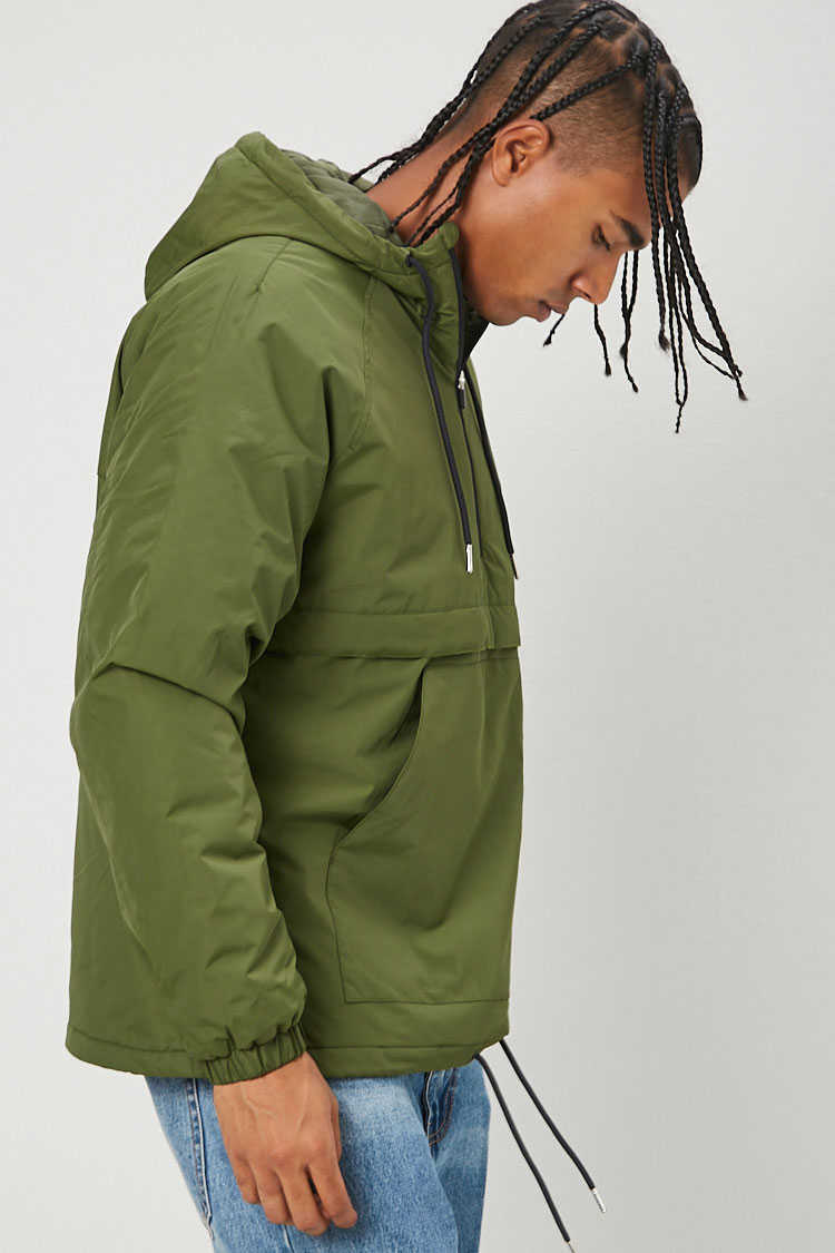 Zip-Up Hooded Anorak at Forever 21