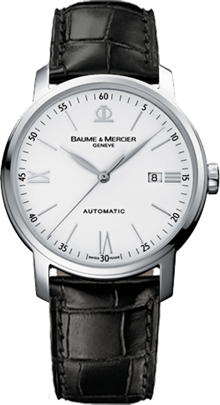 Baume & Mercier Classima White Dial Men's Watch 8592 White USA - GOOFASH - Mens WATCHES