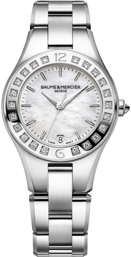 Baume & Mercier Linea Pearl White Dial & Diamonds Women's Watch 10072 White Mother Of Pearl USA - GOOFASH - Womens WATCHES