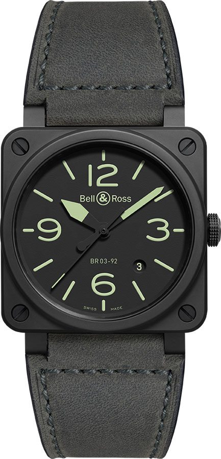 Bell & Ross Aviation Instruments BR0392-BL3-CE/SCA Black USA - GOOFASH - Mens JEWELRY
