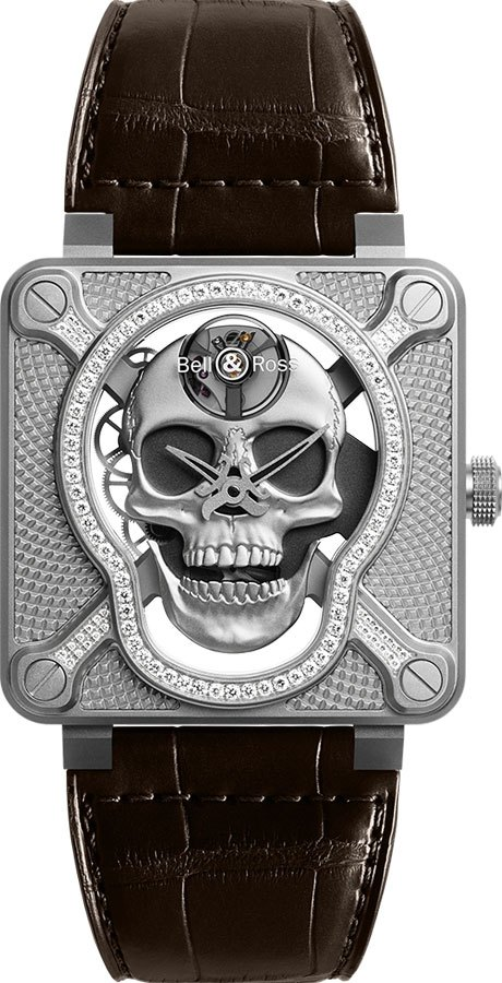 Bell & Ross Aviation Instruments Limited Edition Men's Watch BR01-SKULL-SK-LGD Skeleton USA - GOOFASH - Mens WATCHES