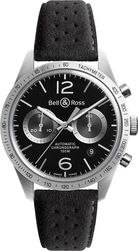 Bell & Ross Vintage Original New Chronograph Men's Watch BRV126-BS-ST/SF Black USA - GOOFASH - Mens WATCHES