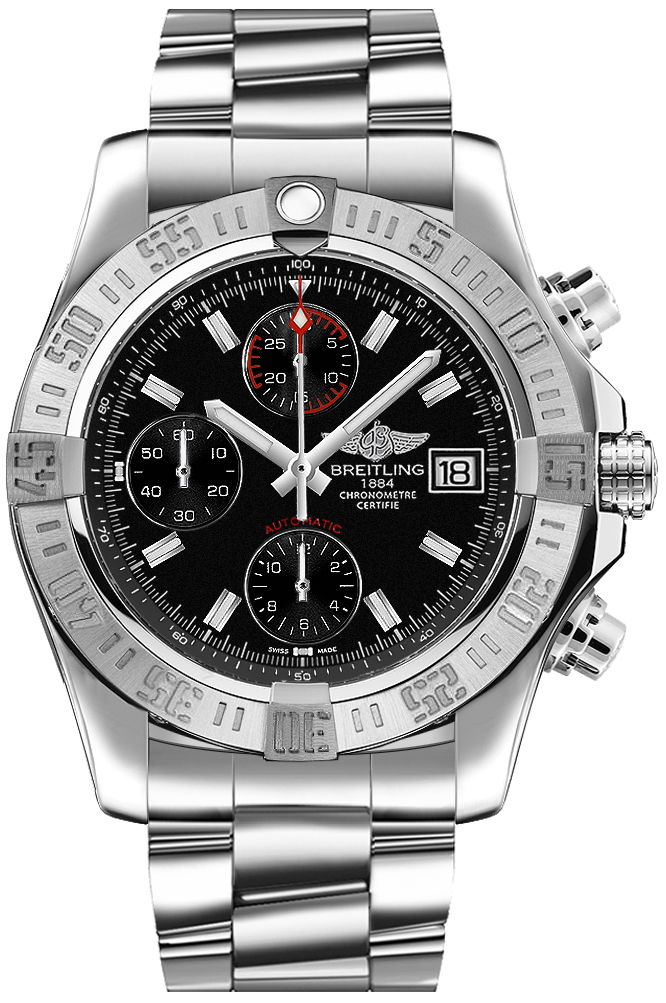 Breitling Avenger II Black Dial Men's Watch A1338111/BC32-170A Black USA - GOOFASH - Mens WATCHES