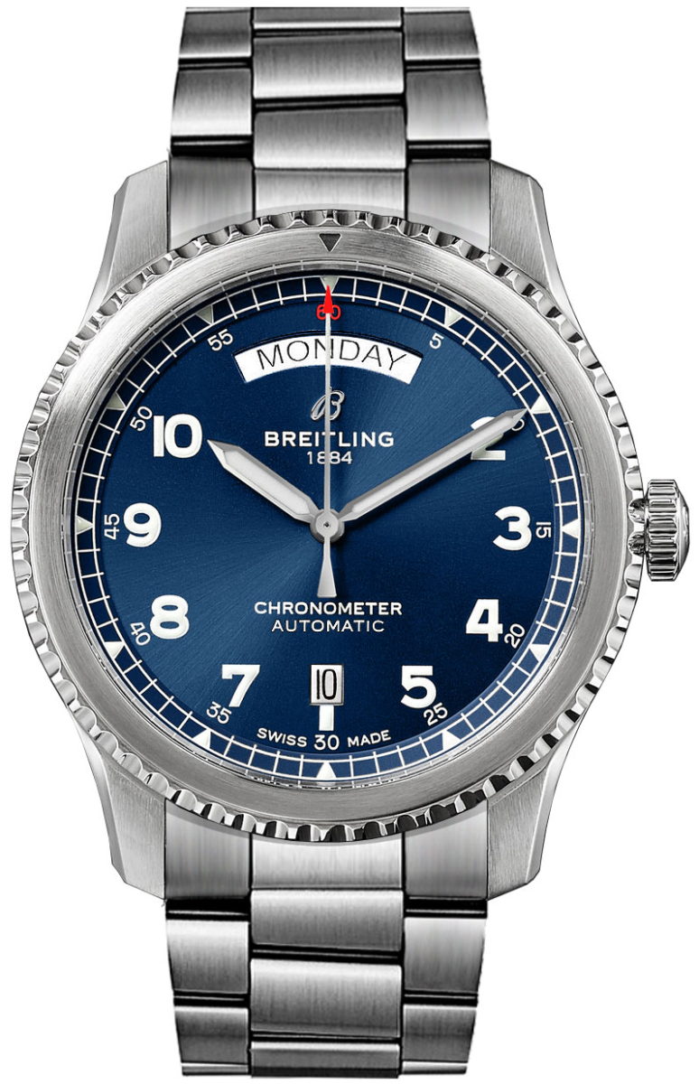 Breitling Aviator 8 Automatic Day & Date 41 A45330101C1A1 Blue USA - GOOFASH - Mens JEWELRY