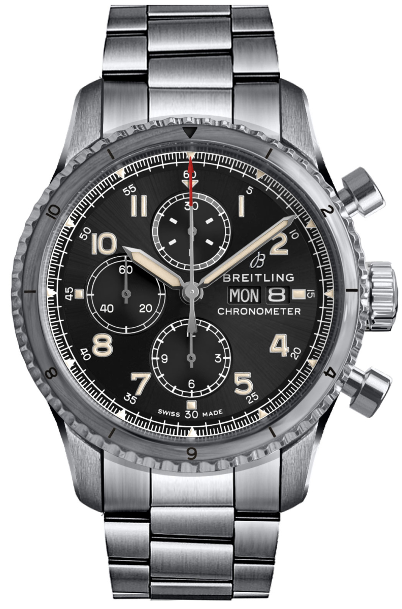 Breitling Aviator 8 Chronograph 43 Men's Watch A13316101B1A1 Black USA - GOOFASH - Mens WATCHES