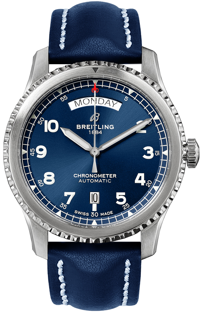 Breitling Aviator 8 Day Date 41 Men's Watch A45330101C1X3 Blue USA - GOOFASH - Mens WATCHES
