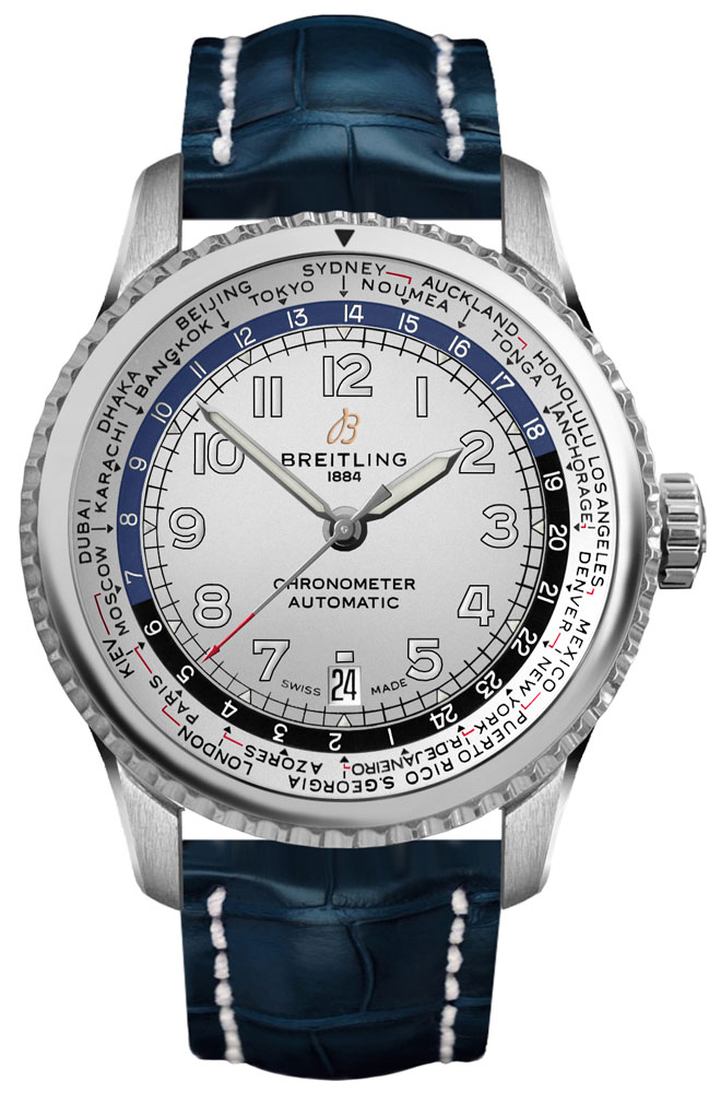 Breitling Aviator 8 Unitime 43mm Silver Dial Men's Watch AB3521U01G1P2 Silver USA - GOOFASH - Mens WATCHES