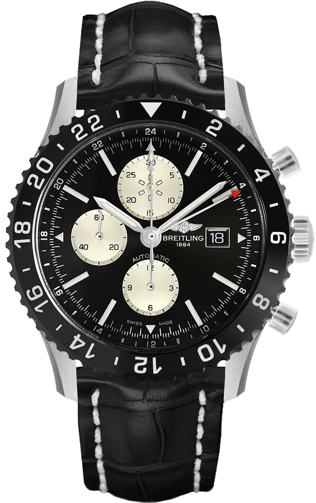 Breitling Chronoliner Black & Silver Dial Men's Watch Y2431012/BE10-761P Black USA - GOOFASH - Mens WATCHES