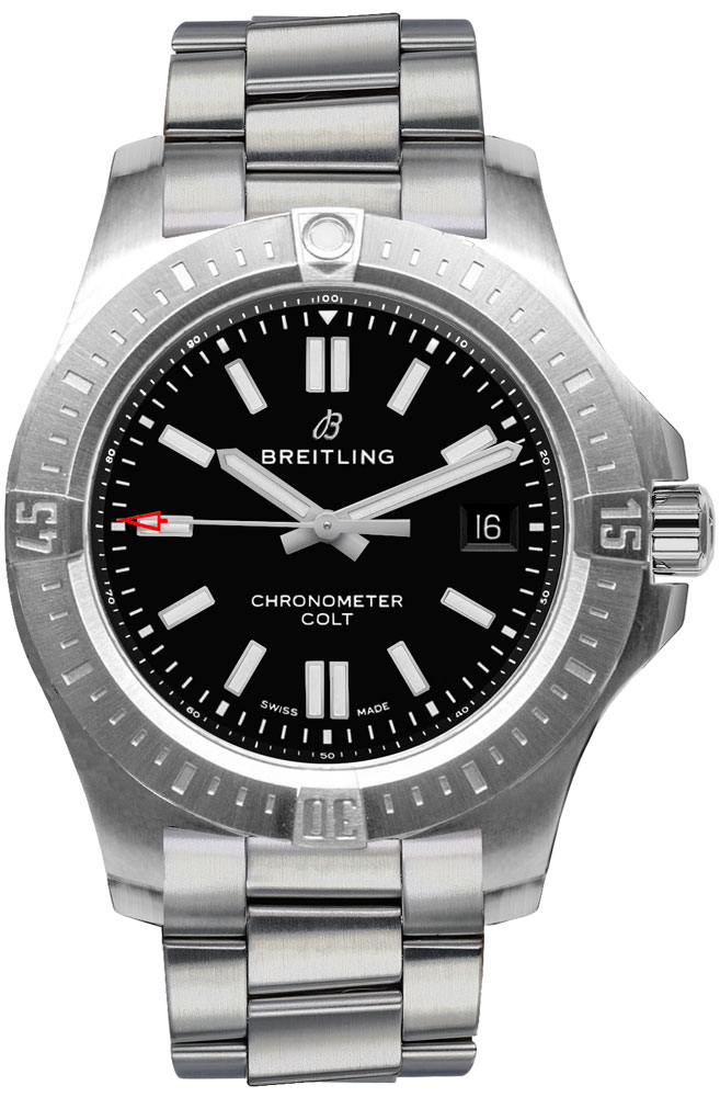 Breitling Chronomat Colt Automatic 44 Swiss Men's Watch A17388101B1A1 Black USA - GOOFASH - Mens WATCHES
