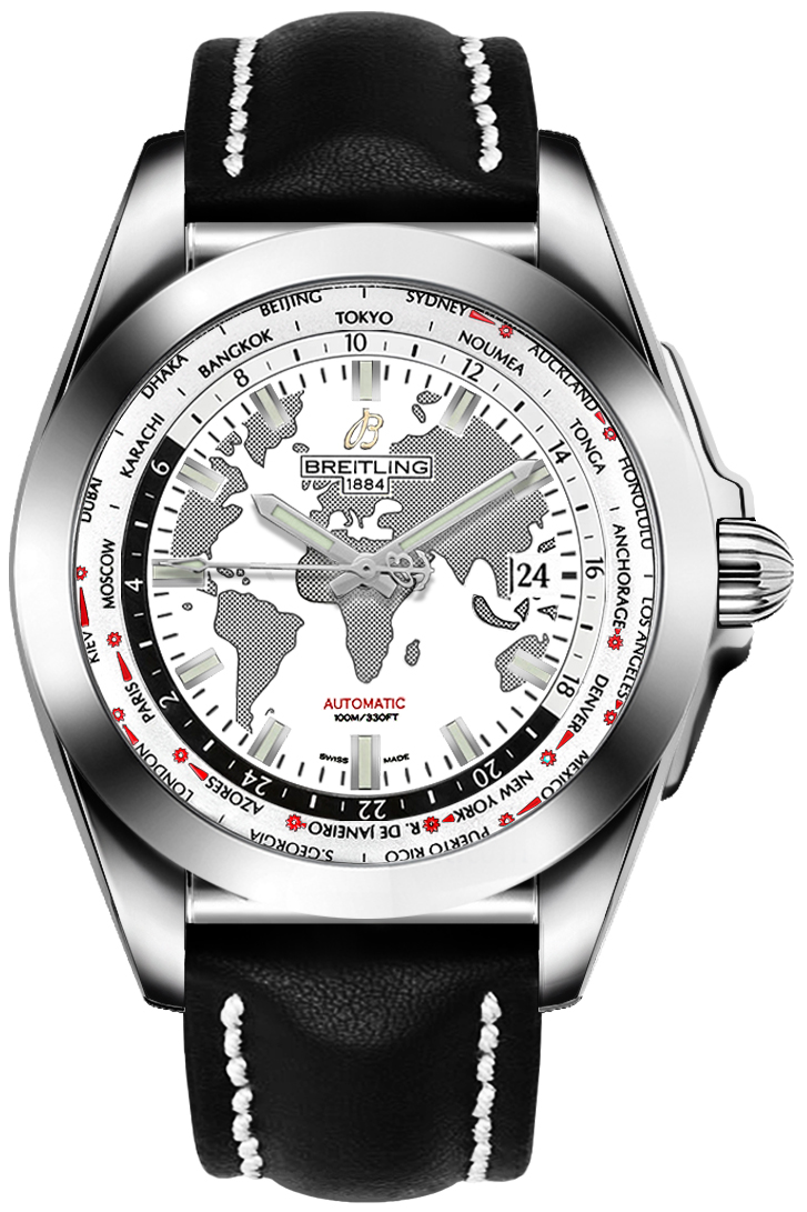 Breitling Galactic Unitime World Map White Dial Men's Watch WB3510U0/A777-435X White USA - GOOFASH - Mens WATCHES