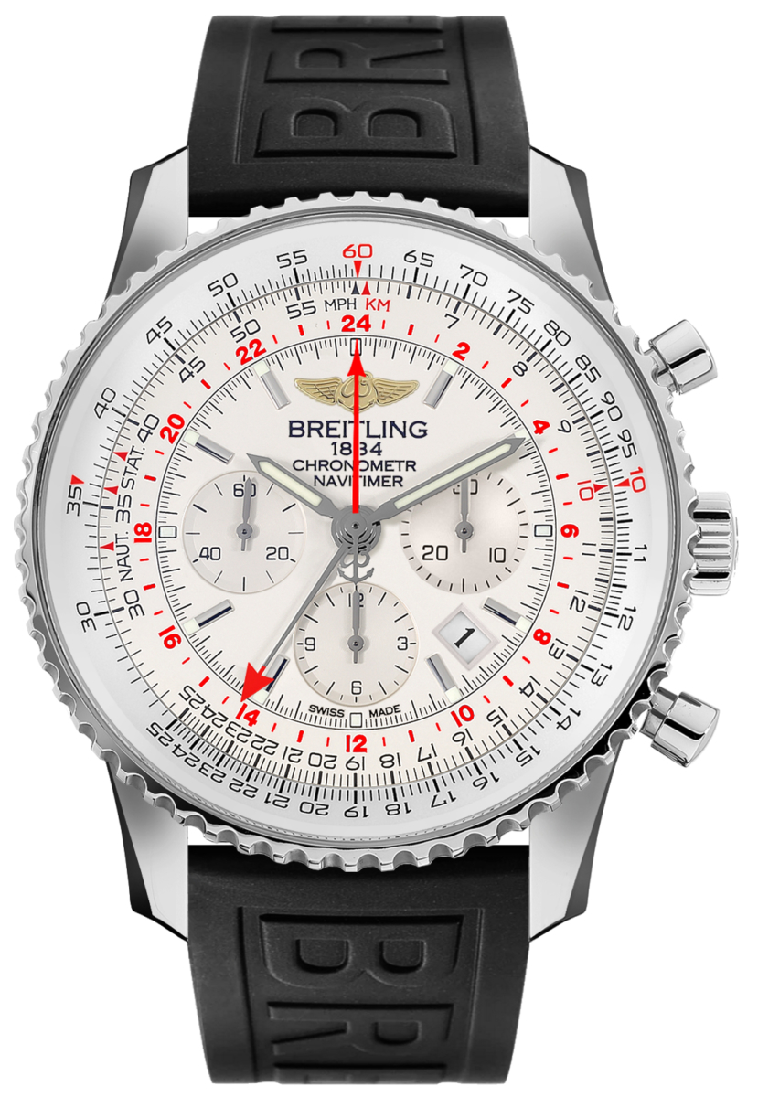 Breitling Navitimer GMT AB044121/G783-155S Silver USA - GOOFASH - Mens JEWELRY