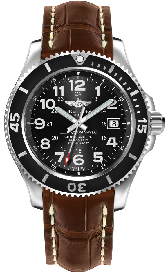 Breitling Superocean II 42 Automatic Men's Luxury Watch A17365C9/BD67-724P Black USA - GOOFASH - Mens WATCHES