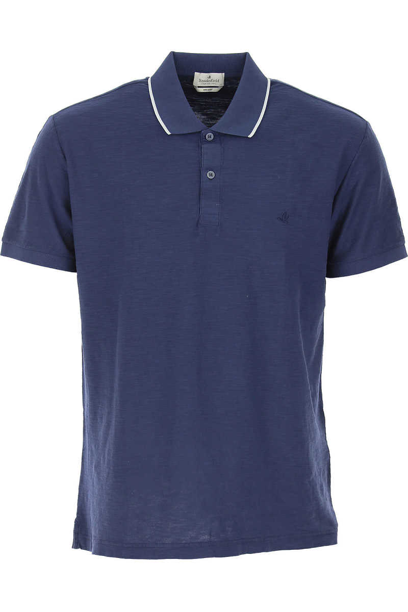 Brooksfield Polo Shirt for Men On Sale Blue DK - GOOFASH - Mens POLOSHIRTS
