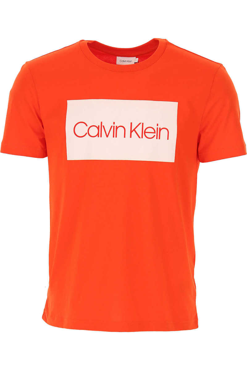 Calvin Klein T-Shirt for Men On Sale Orange DK - GOOFASH - Mens T-SHIRTS