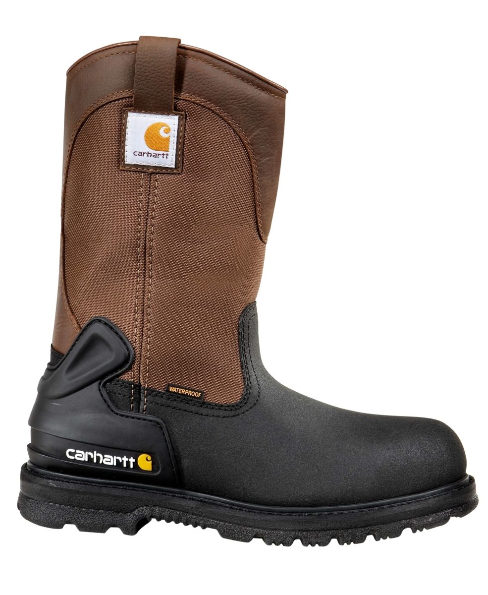 Carhartt 11-Inch Insulated Steel Toe Wellington Boot Brown And Black Leather USA - GOOFASH - Mens BOOTS
