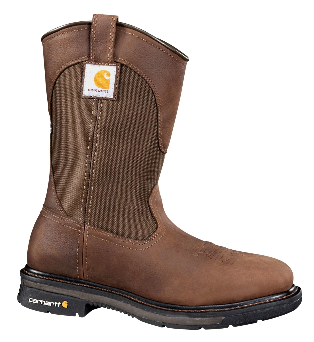 Carhartt 11-Inch Square Non-Safety Toe Wellington Boot Dark Bison Oil Tanned USA - GOOFASH - Mens BOOTS