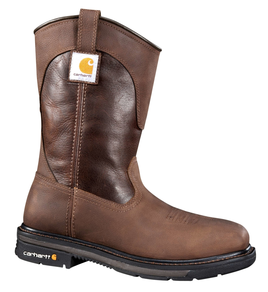Carhartt 11-Inch Square Steel Toe Wellington Boot Brown Oil Tanned USA - GOOFASH - Mens BOOTS