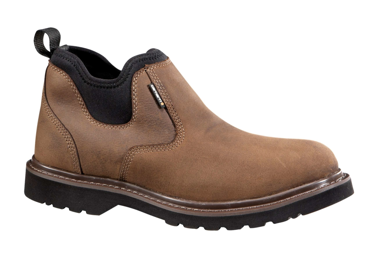 Carhartt 4-Inch Non-Safety Toe Slip On Boot Dark Bison Oil Tanned USA - GOOFASH - Mens BOOTS