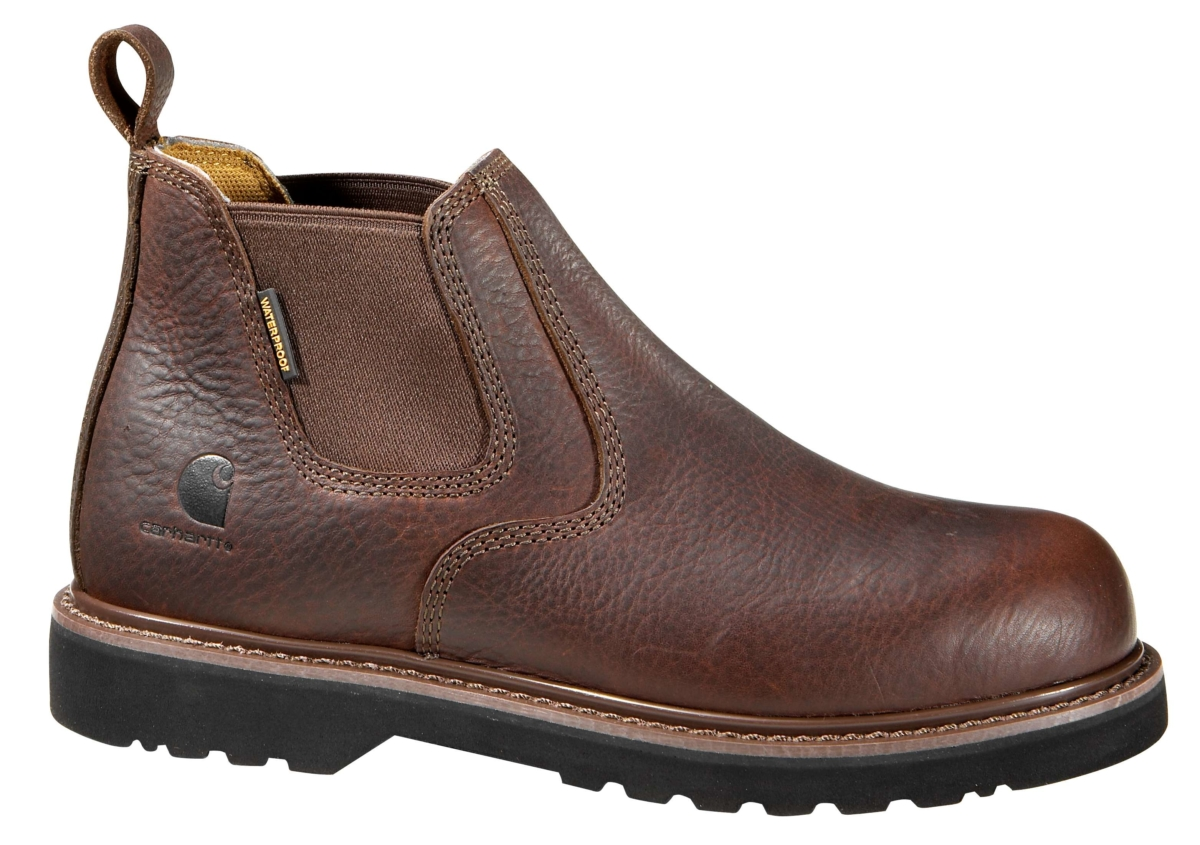 Carhartt 4-Inch Steel Toe Slip On Boot Dk Brown Oil Tanned USA - GOOFASH - Mens BOOTS
