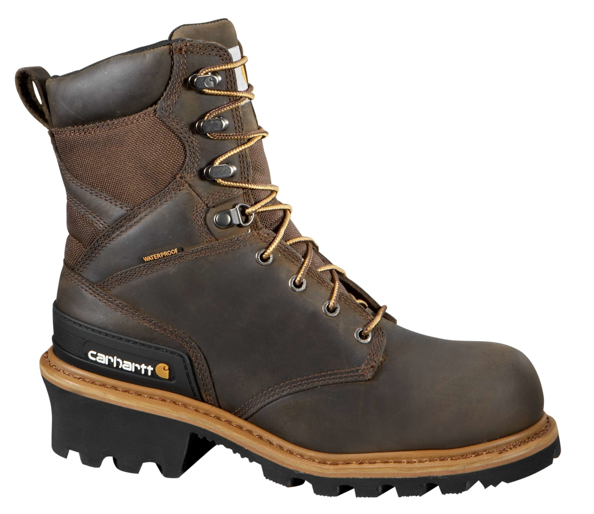 Carhartt 8 INCH COMPOSITE TOE CLIMBING BOOT Crazy Horse Brown Oil Tanned USA - GOOFASH - Mens BOOTS