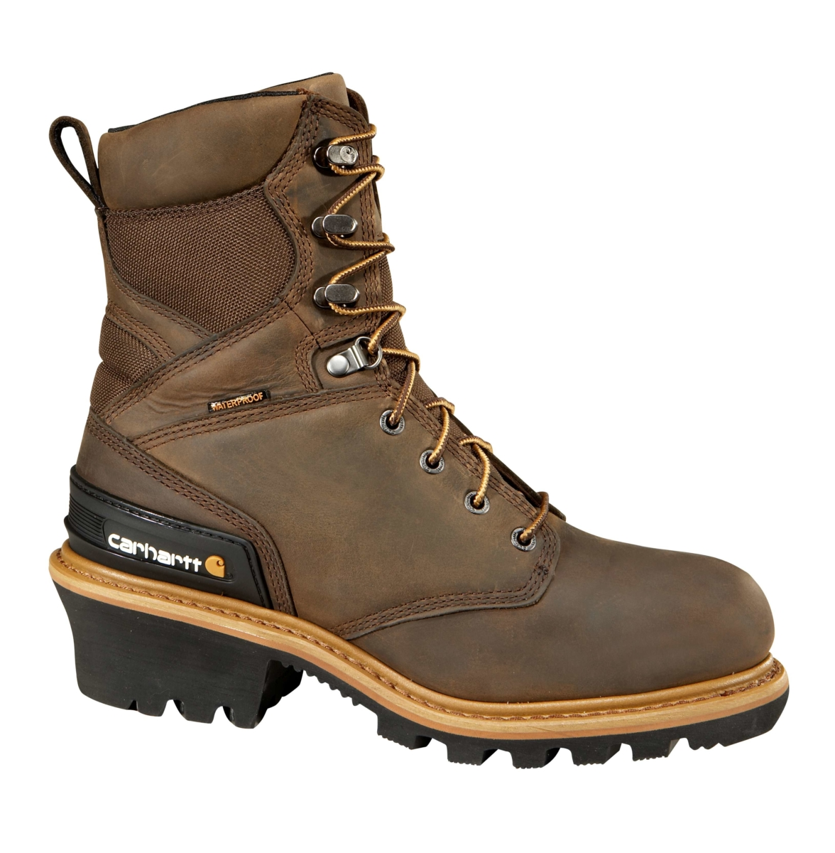 Carhartt 8 INCH INSULATED COMPOSITE TOE CLIMBING BOOT Crazy Horse Brown Oil Tanned USA - GOOFASH - Mens BOOTS