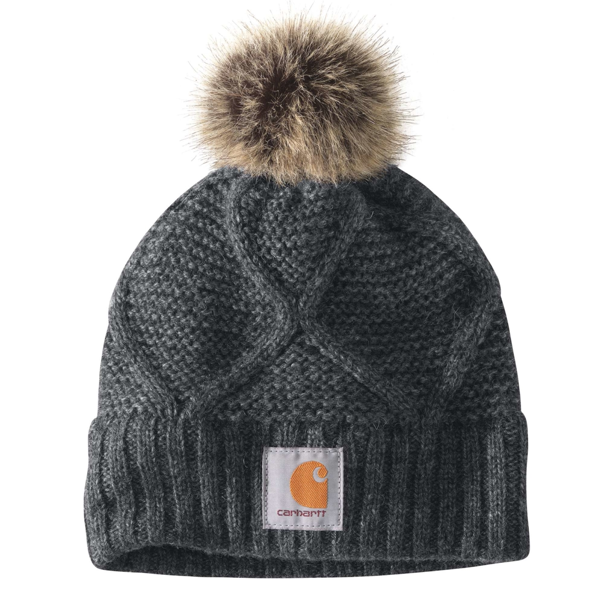 Carhartt Cable Knit Pom Hat Carbon Heather USA - GOOFASH - Womens HATS
