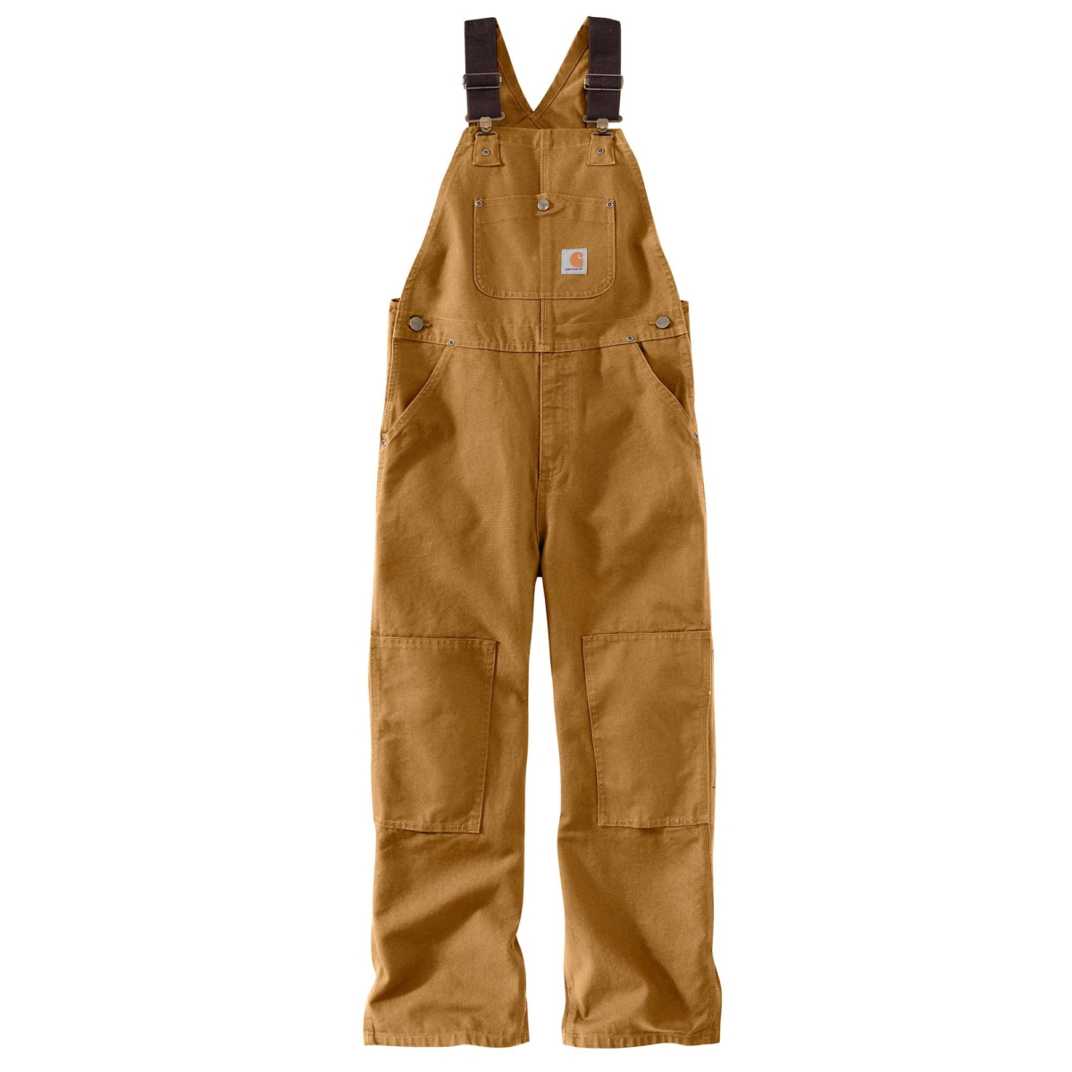 Carhartt Duck Washed Bib Overall Sizes 8-16 Carhartt Brown USA - GOOFASH - Mens TROUSERS