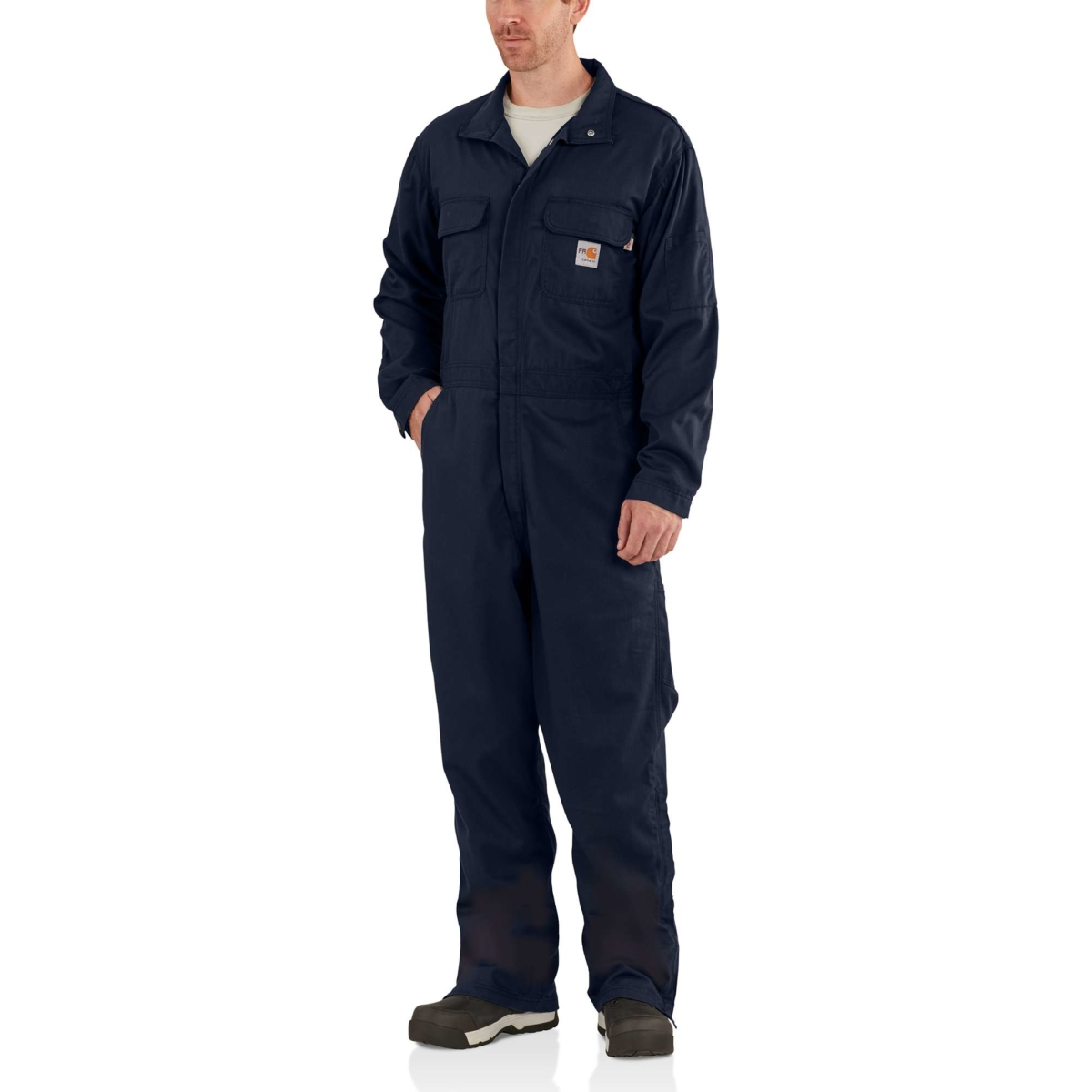 Carhartt Flame-Resistant Deluxe Coverall Dark Navy USA - GOOFASH -