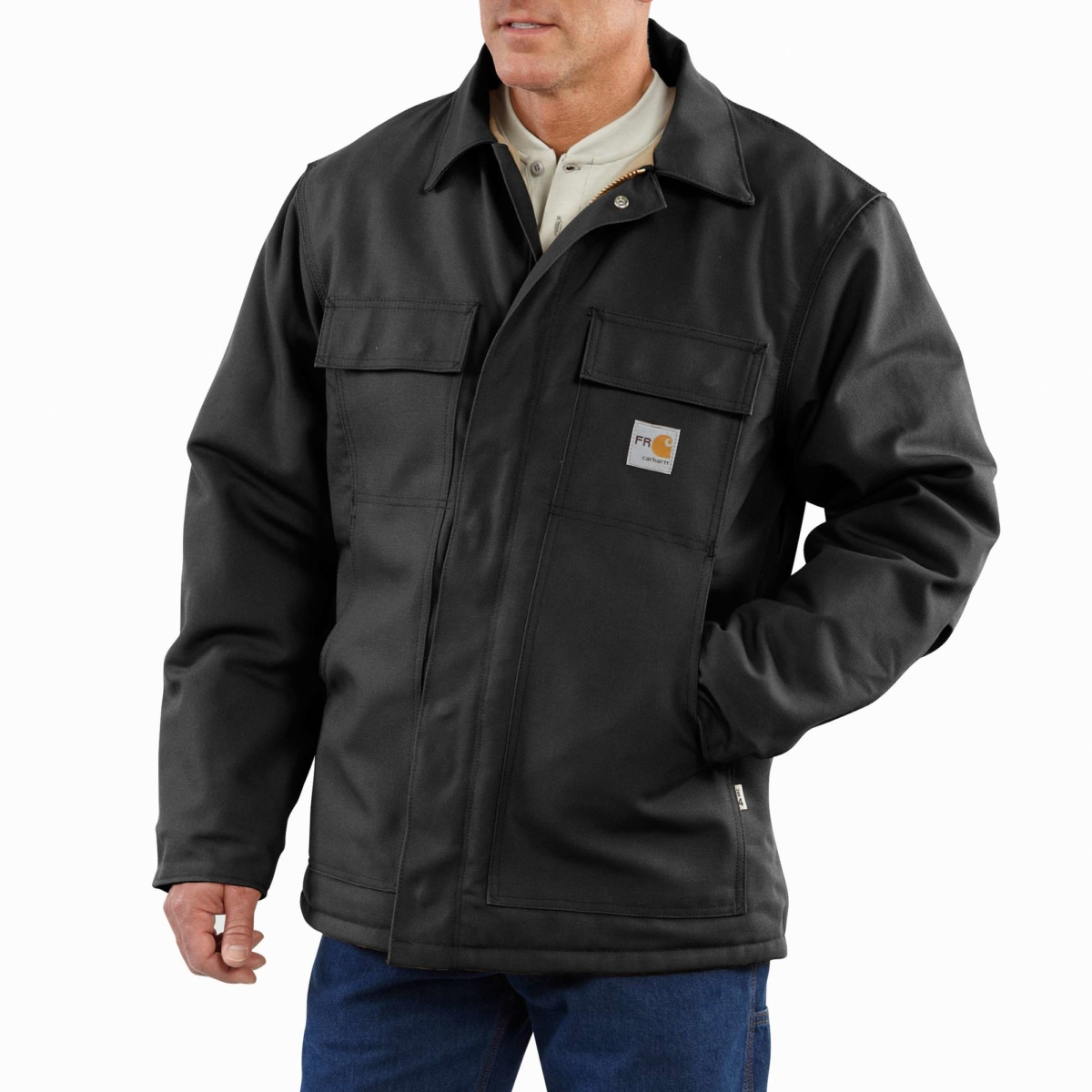Carhartt Flame-Resistant Duck Traditional Coat/Quilt-Lined Black USA - GOOFASH - Mens COATS
