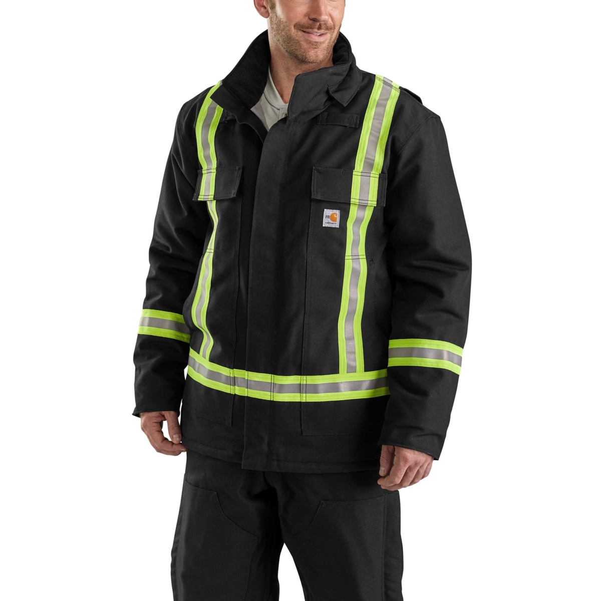 Carhartt Flame-Resistant Striped Duck Traditional Coat/Quilt-Lined Black USA - GOOFASH - Mens COATS