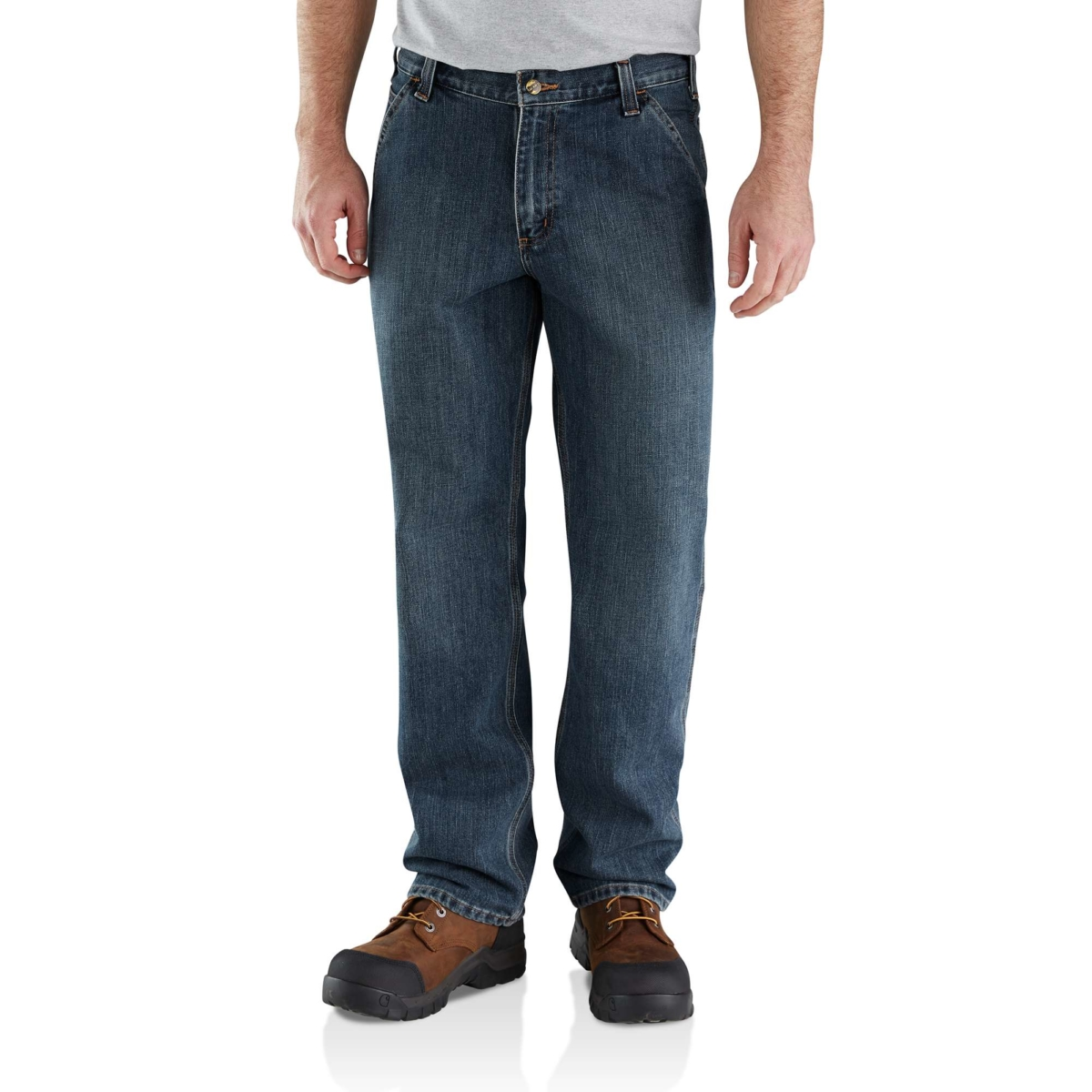Carhartt Relaxed Fit Holter Dungaree Jean Blue USA - GOOFASH - Mens JEANS
