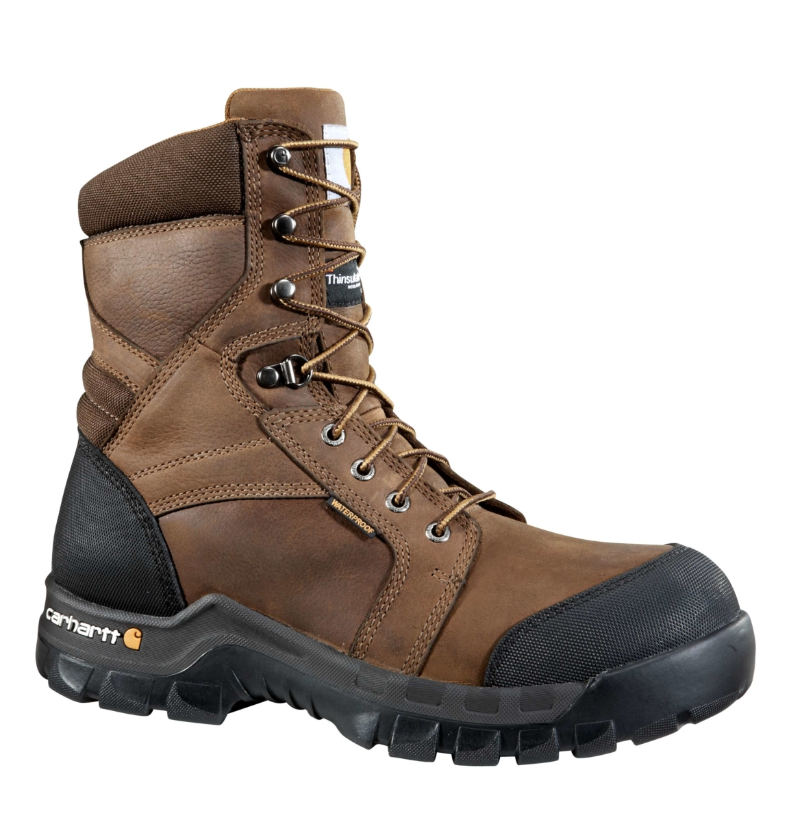Carhartt Rugged Flex 8-Inch Insulated Composite Toe Work Boot Dk Brown Oil Tanned USA - GOOFASH - Mens BOOTS