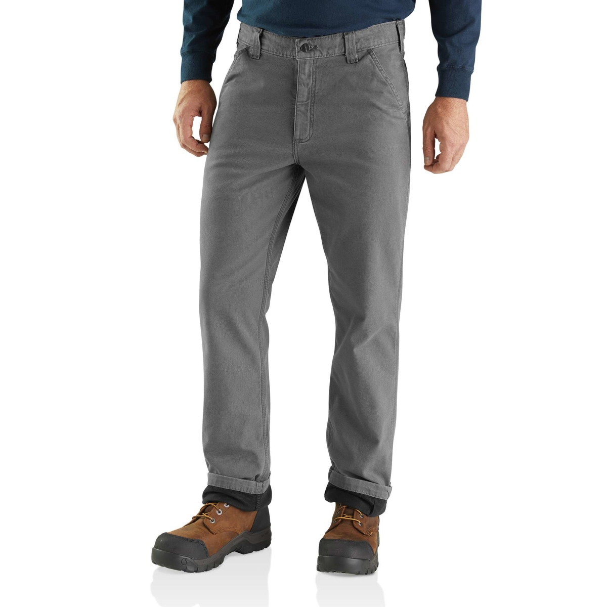 Carhartt Rugged Flex Rigby Dungaree Knit Lined Pant Gravel USA - GOOFASH - Mens TROUSERS