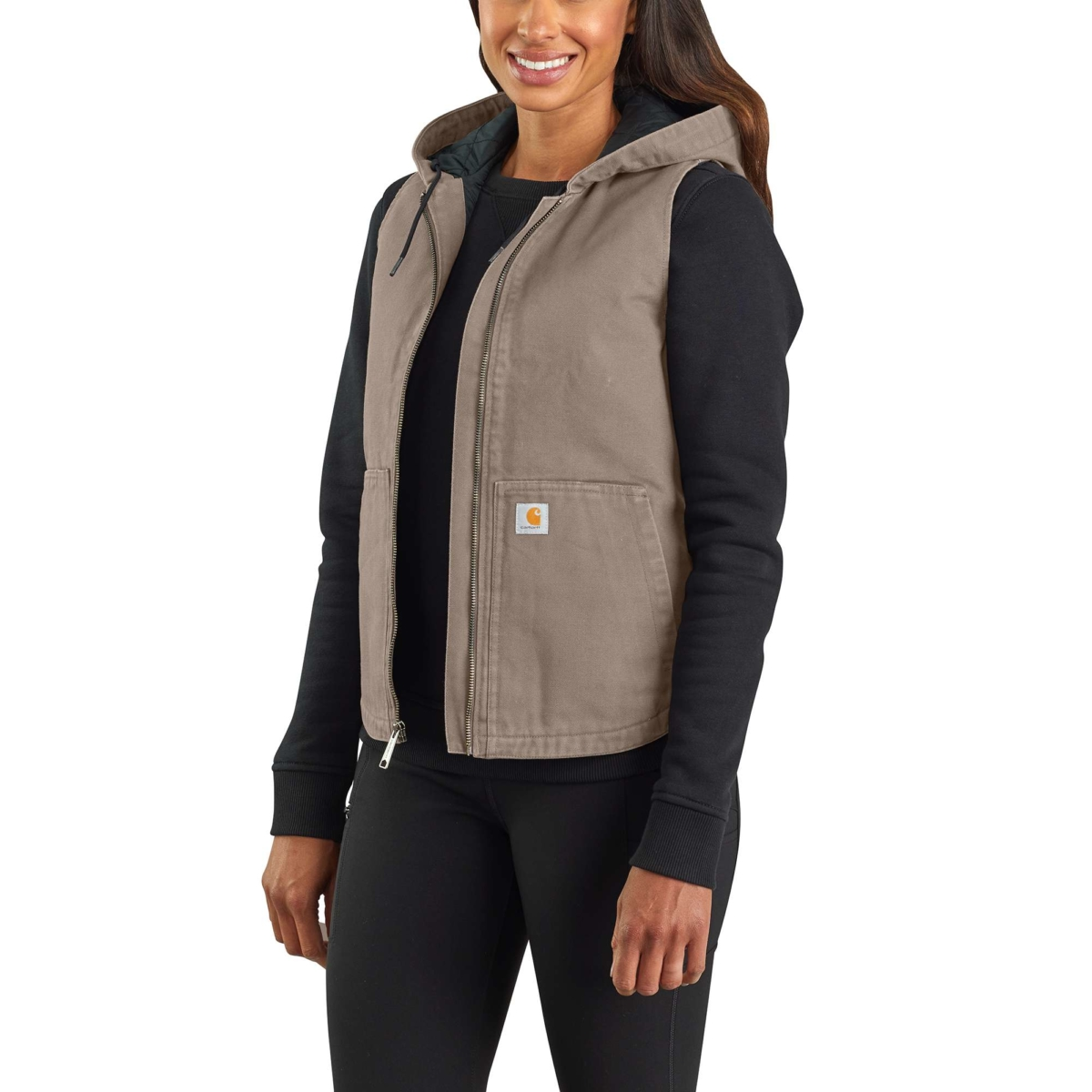 Carhartt Washed Duck Insulated Hooded Vest Taupe Gray USA - GOOFASH - Womens JACKETS