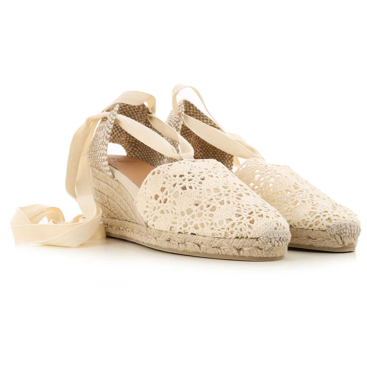 Castaner Wedges for Women On Sale White DK - GOOFASH - Womens HOUSE SHOES