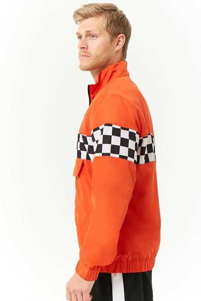 Checkered-Panel Anorak at Forever 21