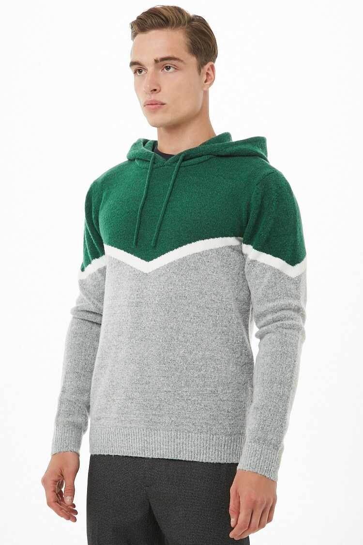 Chevron Hooded Sweater at Forever 21