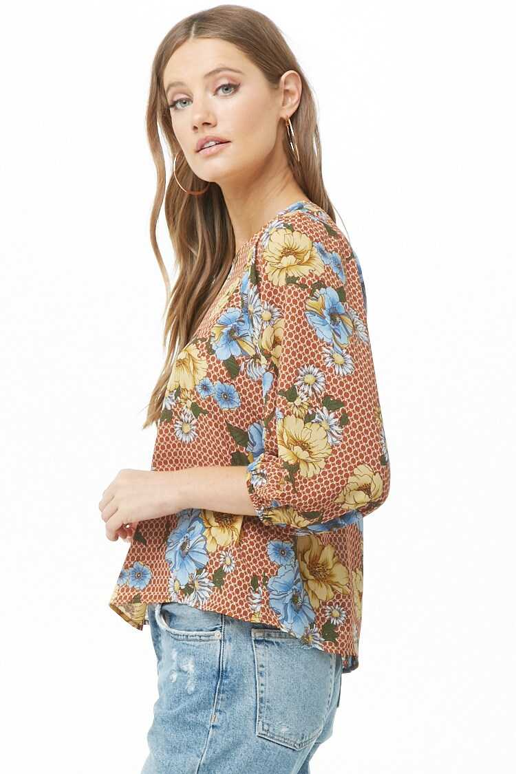 Chiffon Floral & Geo Print Top at Forever 21