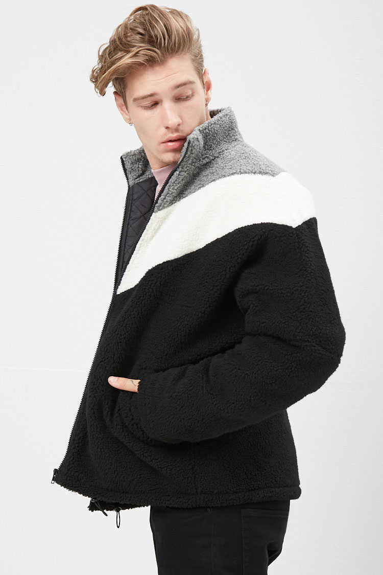 Colorblock Fleece Jacket at Forever 21