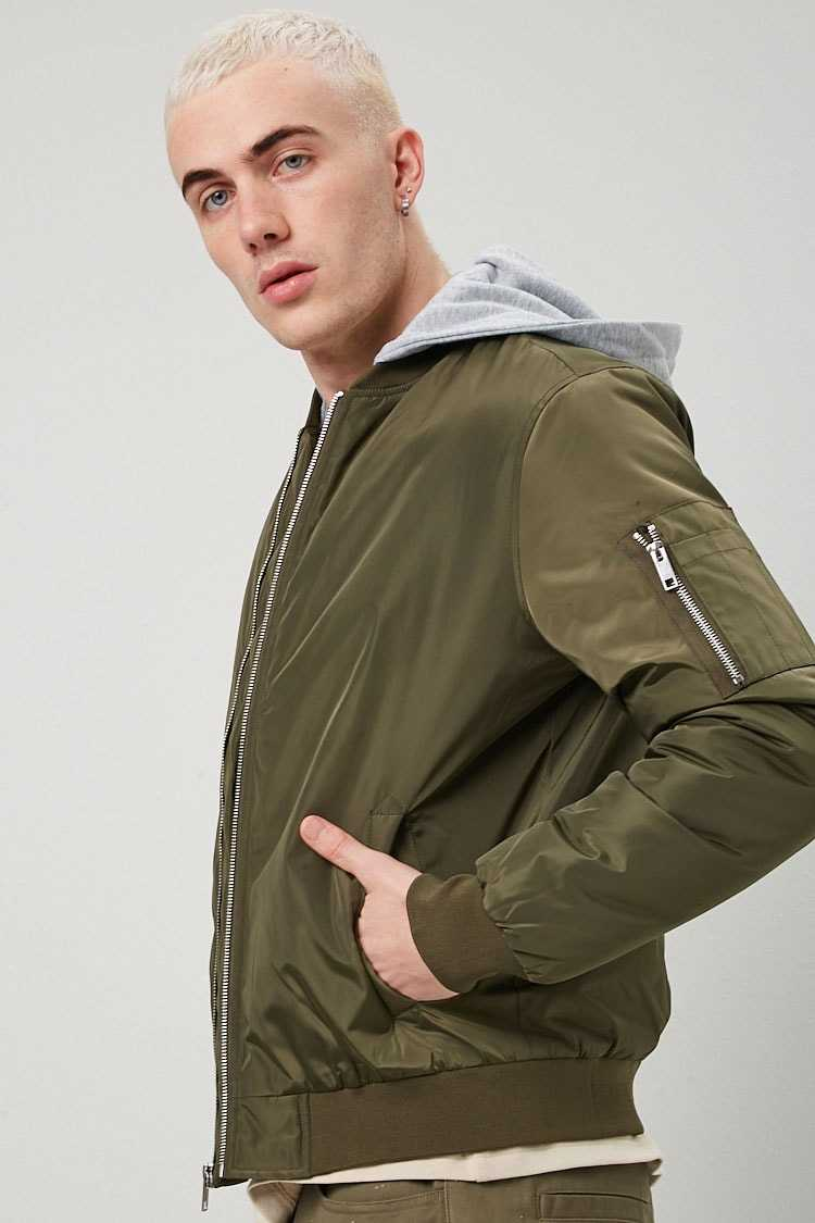 Combo Bomber Jacket at Forever 21