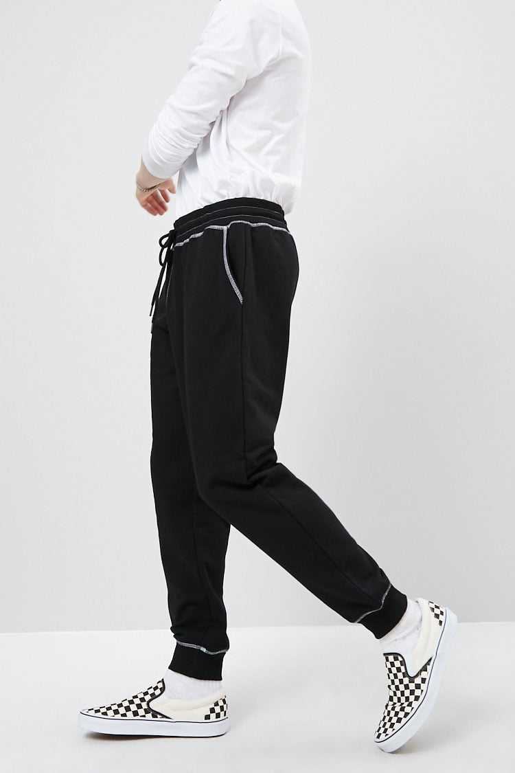 Contrast-Stitched French Terry Joggers at Forever 21