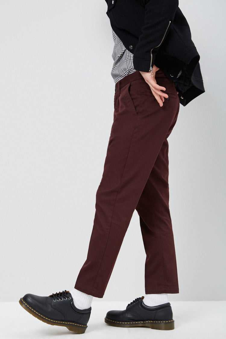 Cropped Slim-Fit Chino Pants at Forever 21